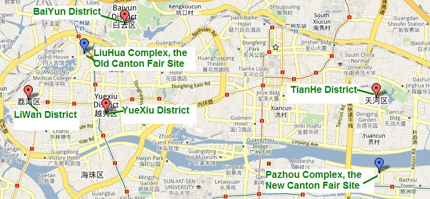 Guangzhou Map for the Canton Fair